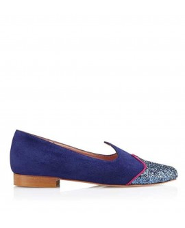 Slipper Arlette Azul vista lateral
